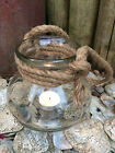 Hanging Glass Lantern Hurricane Tea Light Holder Candle Jar Nautical Rope Handle