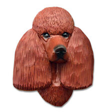 Poodle Head Plaque Figurine Red