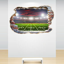 STADIO Football Americano Adesivo Parete rotte 3d decalcomania ragazzi camera da letto Decor