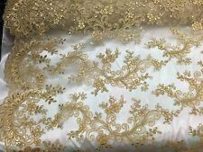 Gold French Corded Design-embroider With Sequins On A Mesh Lace Fabric-by Yard-