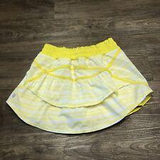 Lululemon Run Track Attack Skirt 2/4 Yellow Twin Stipe Sizzle Ruffle Skort