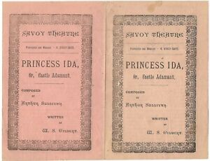 1885 EARLY Princess Ida Savoy Theatre programme Gilbert & Sullivan D'Oyly Carte