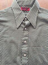 70's Men's Poly GEO KNit DISCO SHIRT Long Sleeve Button Up XL SUTTON Mod Go Go
