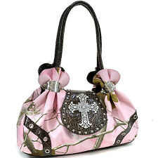 Realtree Studded Camouflage Satchel Bag with Rhinestone Cross Faux Leather AM2
