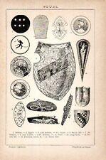 Stampa antica SCUDI MILITARI diverse epoche e paesi 1910 Old print