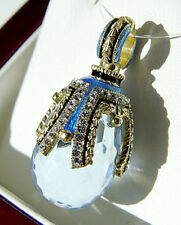 SALE ! RUSSIAN PENDANT HANDMADE OF STERLING SILVER  with BLUE TOPAZ and 24K GOLD