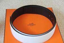 100% Authentic Hermes White/Black Chamonix & Epsom Leather Belt 42 MM - size 80