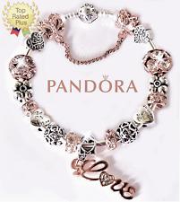 Pandora Charm Bracelet Silver Bangle with Rose Gold Love European Charm New
