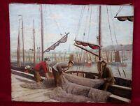Tableau marine: Port animé avec ses pêcheurs ! par Remyo 1928