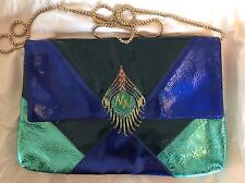 Nuevo Matthew Williamson For h&m clutch pochette bolso pavo real Peacock cuero x azul