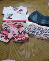 Build A Bear Pink Black Floral Shorts 2 Skirts Top EUC Denim Sparkle Limited Too