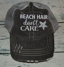 Ladies Beach Hair Don't Care Distressed Trucker Hat Womens Cap Embroidered