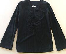 Billabong Boho Long Style Sleeve Black Top Size 8 - 100% Cotton