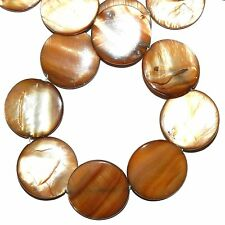 MP1587L Brown Mother of Pearl 30mm Flat Round Gemstone Shell Beads 16""