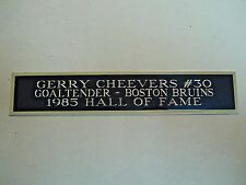 Gerry Cheevers Bruins Nameplate For A Hockey Stick Display Case 1.5 X 8