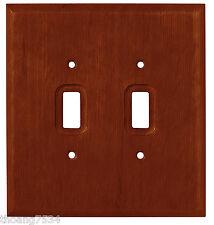 Dark Oak Wood Double Light Switch Wall Plate Outlet Cover Brainerd 126427