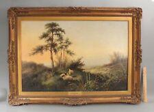 Large 19thC Antique EDWIN MASTERS English Landscape w/ Scottish Blackface Sheep