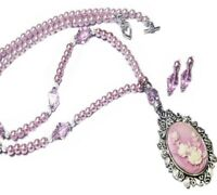 Pink Cameo pearl boho bronze necklace and earrings set choose your fittings