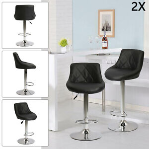 2x Bar Stools Leather Chairs Breakfast Chairs Swivel Gas Lift Kitchen Cushioned