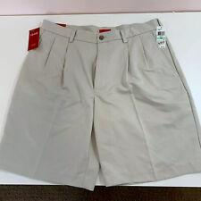 Izod Mens Size 34 Golf Shorts Luxury Sport Pleated Golfing Stone/Tan NWT UPF50
