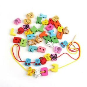 60Pcs String Wooden Lacing Threading Beads Kids Intelligence Education Block Toy