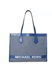 MICHAEL KORS Bay Large East/West Woven Tote Handbag VintageBlue/White Dust Cloth