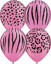 10 pc Neon Magenta Safari Animal Print Latex Balloon Happy Birthday Party Jungle