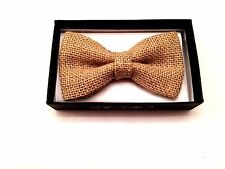 Beige New Men Women Hemp Woven Pre Tied Neck Bow Tie