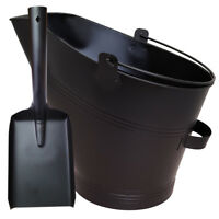 WATERLOO BUCKET & SHOVEL SET STEEL METAL BLACK FIRESIDE COAL ASH LOG SCUTTLE HOD