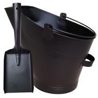 WATERLOO BUCKET & SHOVEL SET STEEL METAL BLACK FIRESIDE COAL ASH LOG SCUTTLE HOD