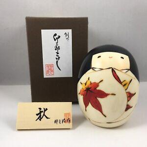 """Japanese KOKESHI Wooden Doll 3.5""""H Girl AKI Autumn Momiji Maple Made in Japan"""
