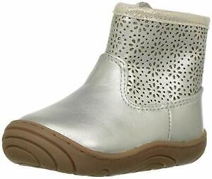 Stride Rite Girls' Madison Ankle Boot, Silver, 4.5 M US Toddler