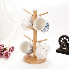 6 Taza de Soporte de árbol de taza de madera de haya Copa Titular de almacenamiento de cocina de buena calidad