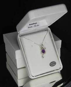 African Amethyst - .55 cts - Round Fancy Pendant / Necklace - Sterling Silver