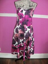 NEW BNWT WALLIS COTTON FLORAL FIT FLARE party prom  DRESS 14 look PINK WHITE