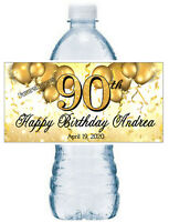 GOLD 90TH BIRTHDAY PARTY FAVORS WATER BOTTLE LABELS ~ PERSONALIZED