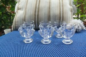 Lovely French  Vintage Set 6 Glass Chicken Eggcups