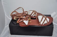 Colin Stuart Studded Brown Strappy Ankle Wrap Sandals Size 6M