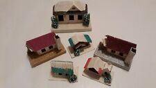 Vintage Christmas Cardboard Village Blume & Putz - Set Of 6