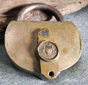 Rare Antique Brass HAUSCHILD Seal Lock German Padlock BAVARIA COAT OF ARMS w/Key