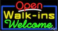 """New """"Open Walk-Ins Welcome"""" 37x20 Real Neon Sign W/Custom Options 15415"""