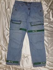 Marithe Francois Girbaud Men's Blue Denim Jeans Green Straps Size 36 x 32