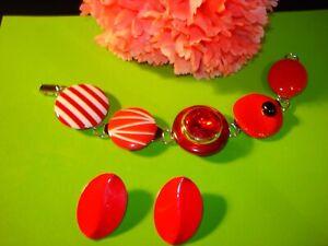 Vintage Upcycled Huge Red Rhinestone Clip Earrings Bracelet and P. Earrings Set