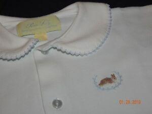 pristine Boutique Pixie Lily Boys 0-3 Months Light Blue Peter Rabbit Bunny Day