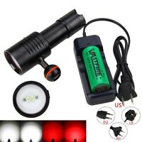 Photography Video Diving 6000Lm 4x White+2x Red LED Scuba Dive Flashlight Light