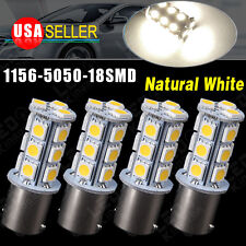 4x Natural White 1156 BA15S 7503 1141 5050 18smd Car RV Trailer LED Light Bulbs