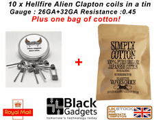 10 x RDA/RTA/RBA Vape Coils - Alien clapton tin of 10x quality coils with cotton