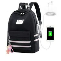 Waterproof Women Bags USB Charge School Backpack Girls Laptop Travel Bookbag