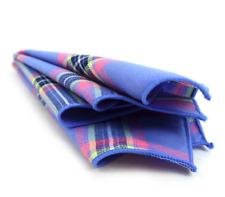Pocket Square Periwinkle Plaid & Checkered Cotton Formal Handkerchiefs