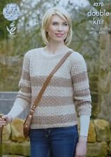 KNITTING PATTERN Ladies Round Neck Lacy Striped Jumper DK King Cole 4270